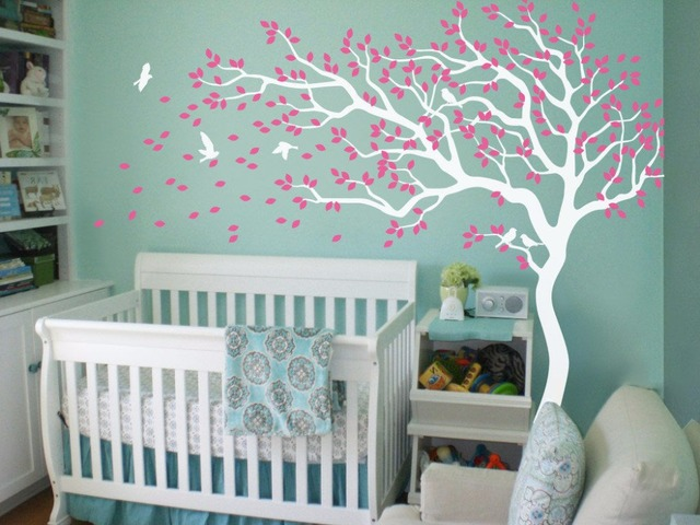 Nursery tree wall decals wall stickers wall tree decals white tree wall tattoo 210x213cm
