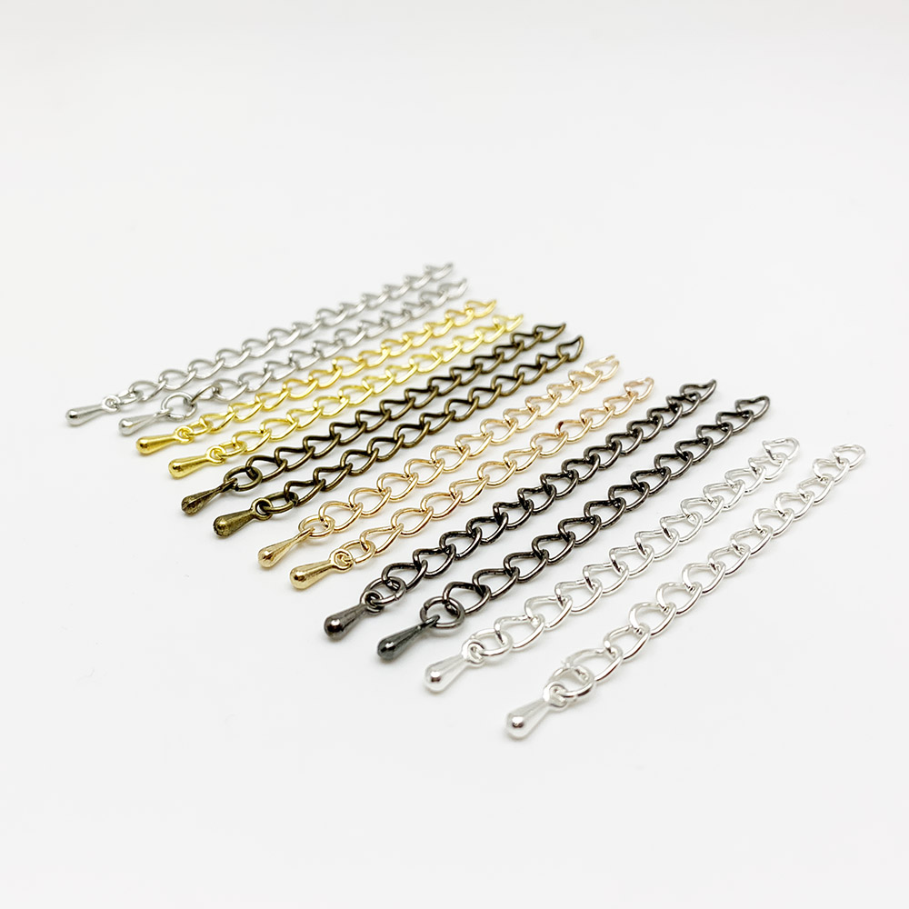 20pcs/lot 50mm 70mm Water Drop End Beads With Extended Extension Tail Chain Connector Supplies For DIY Jewelry Making Findings
