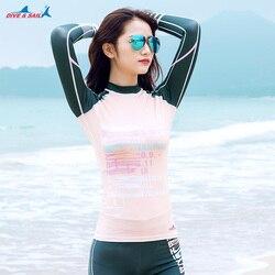 Compressão Das Mulheres Manga Longa Rash Guard Proteção UV das mulheres Zip up Sportswear Slim-fit Terno de Natação Swimwear UPF50 +