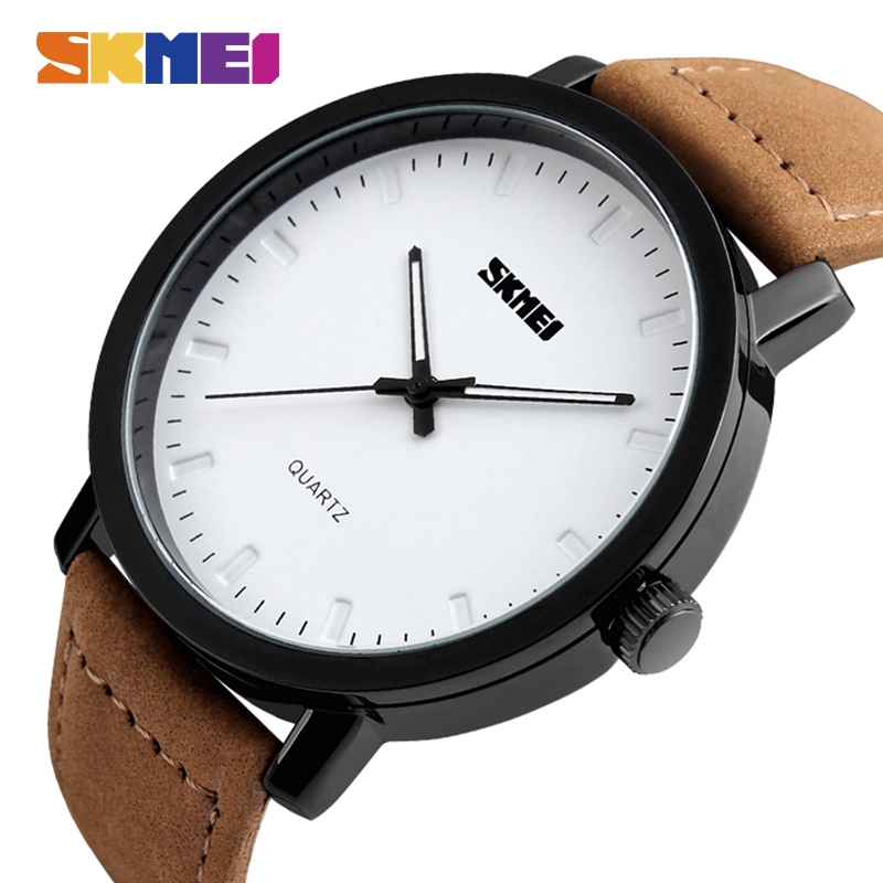 SKMEI Fashion Casual Mens Watches Top Brand Luxury Leather Strap 3Bar Waterproof Quartz Wristwatches Relogio Masculino 1196