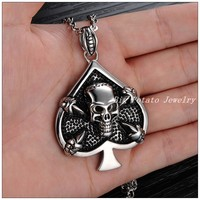 41*47mm 34g New Arrive 316L Stainless Steel Silver Peach Hearts&Skull Skeleton Tone Jewelry Mens Cool Pendant Necklace Fashion