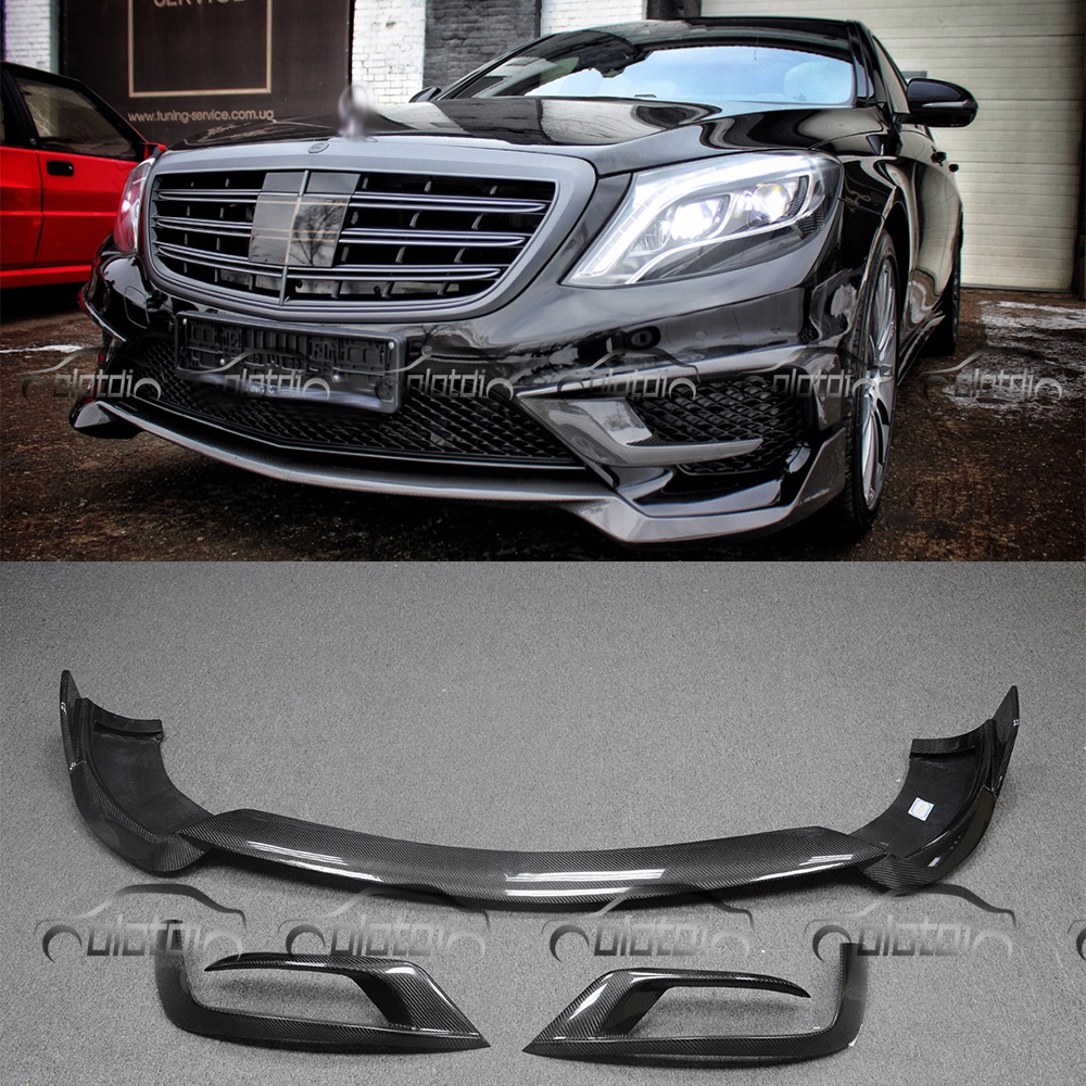 цена на For Mercedes Benz W222 S65 Car Styling Carbon Fiber B Style Front Bumper Lip Air Flow Corner Splitter Protector