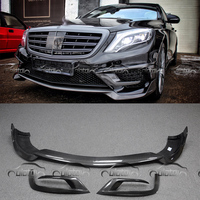 OLOTDI Car Tuning B Style Real Carbon Fiber Front Lip Bumper Spoiler Air Flow Splitter Protector For Mercedes Benz W222 S65
