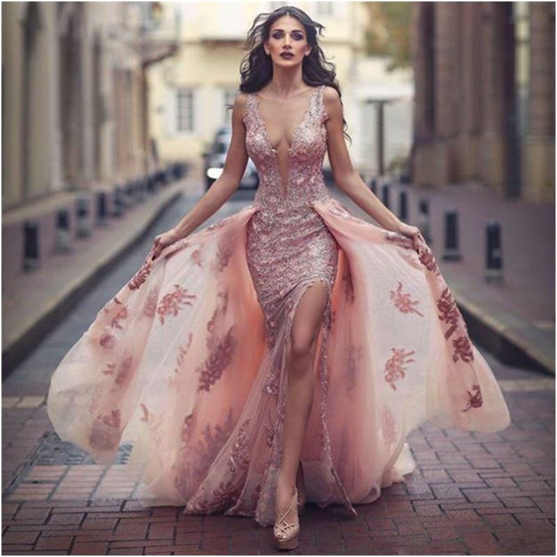 Tulle Overskirt Wedding Dresses Mermaid Bateau Neck Simple: 2017 Sexy High Slit Dress Evening Long Dresses Long