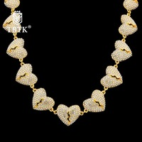TBTK Promotion Zinc Alloy Rhinestone Silver two halves Broken Heart Necklace for Couples Hiphop Creative Jewelry Gold Chain