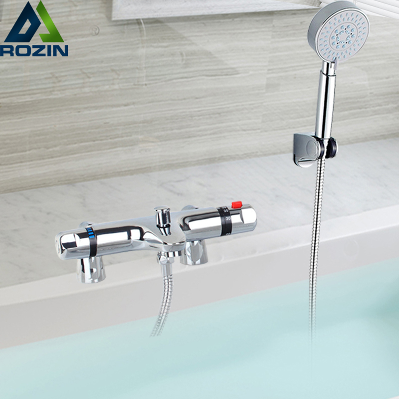 Thermostatic Mixer Valve Bath Tub Sink Faucet Dual Handle Bathroom Hand Held Shower System Faucet Tap Deck Mounted