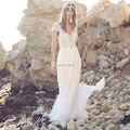 Vestidos De Novia 2017 Vestidos de Noiva Uma Linha Sheer Vestidos de Anna Campbell Beading do Laço Nupcial de Vestidos de Casamento Da Praia Sem Encosto