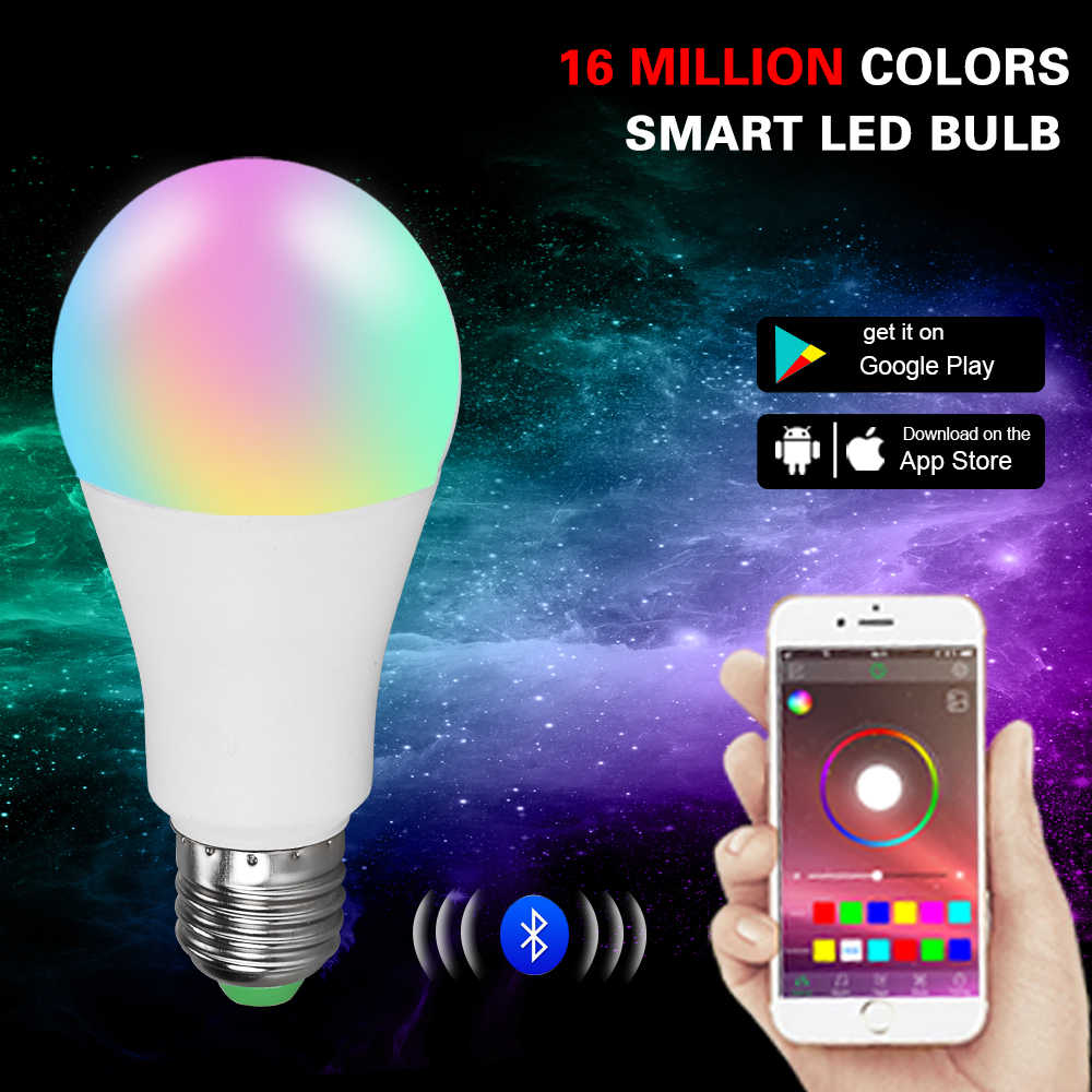 RGBW Bluetooth 4.0 Smart LED Light E27/B22 15/20W APP Smart Voice Music Control Lighting Lamp Multiple Colors LED Bulb for Home