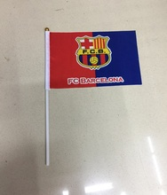 2017 10pcs the Small Barcelona flag 14*21CM shake waving Bareclone FCB Flag the hand SPORT FOOTBALL flag with Pole Handing flag