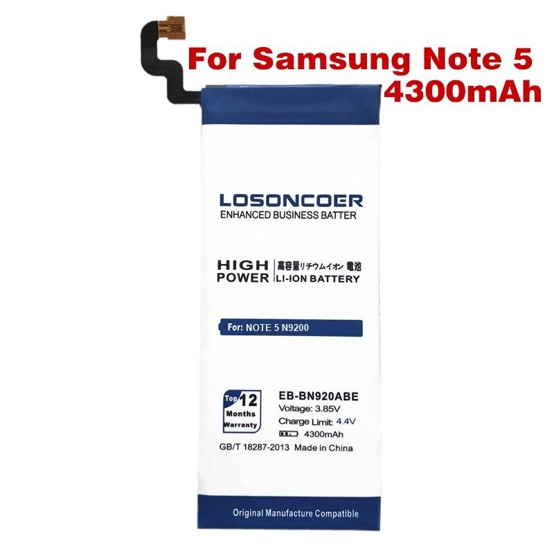 imágenes para EB-BN920ABE LOSONCOER 4300 mAh Para Samsung GALAXY Note 5 Batería N9200 N920t Proyecto Noble EB-BN920ABE note5 Envío Gratis