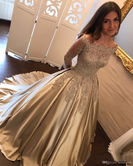 Champagne Lace Appliques Prom Dress with Long Sleeves Elegant Lace ...