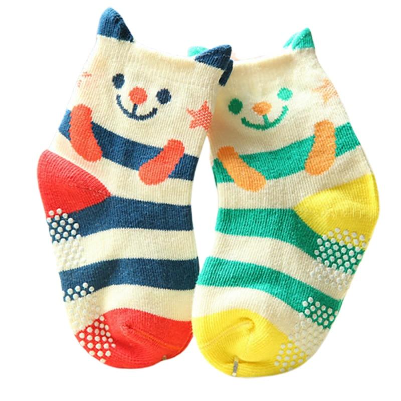 2 Pairs/lot Cotton Striped Baby Socks Infant Funny Socks Anti Slip Newborn Baby Boys Girls Sock Cute Toddler Kid Socks