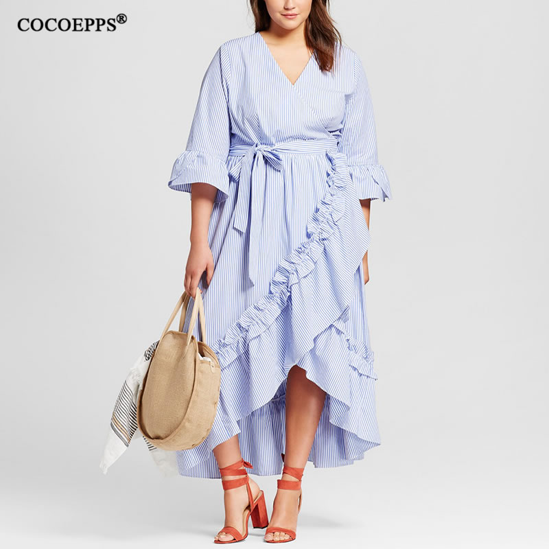 2019 New Fashion Ruffle Dress Big Size Patchwork Striped Vintage Maxi Dresses Women Floor-Length Loose Casual V-Neck Dress Blue