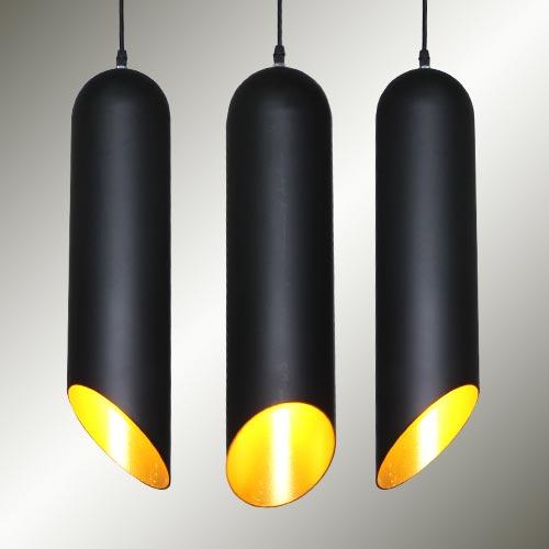 Modern Minimalism Cylinder Section Pendant Light Black+Golden Droplight Bar Counter Restaurant Saloon Cafe Decoration Lamp
