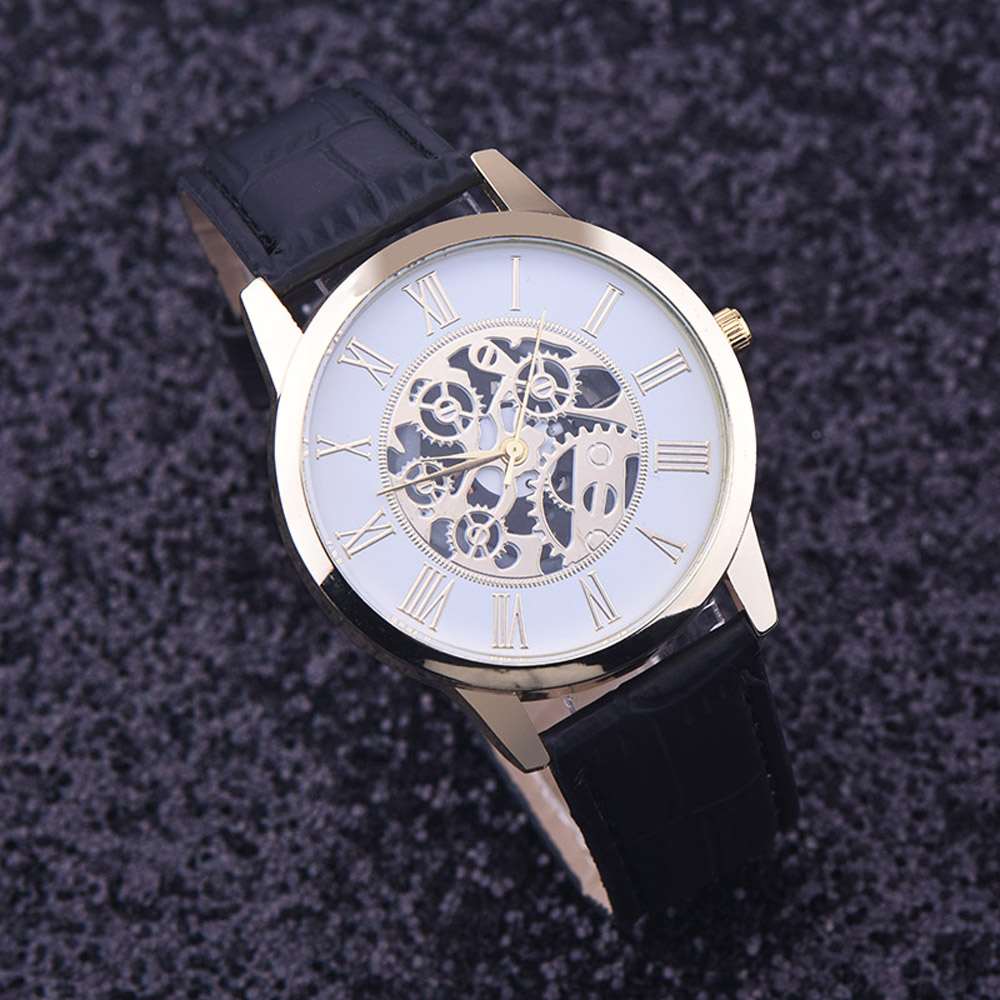 Watches Men Rreloj Hombre Golden Hollow Watch, Luxury Casual Steel Business Imitate Mechanical Watch Male Clock Relogio #3