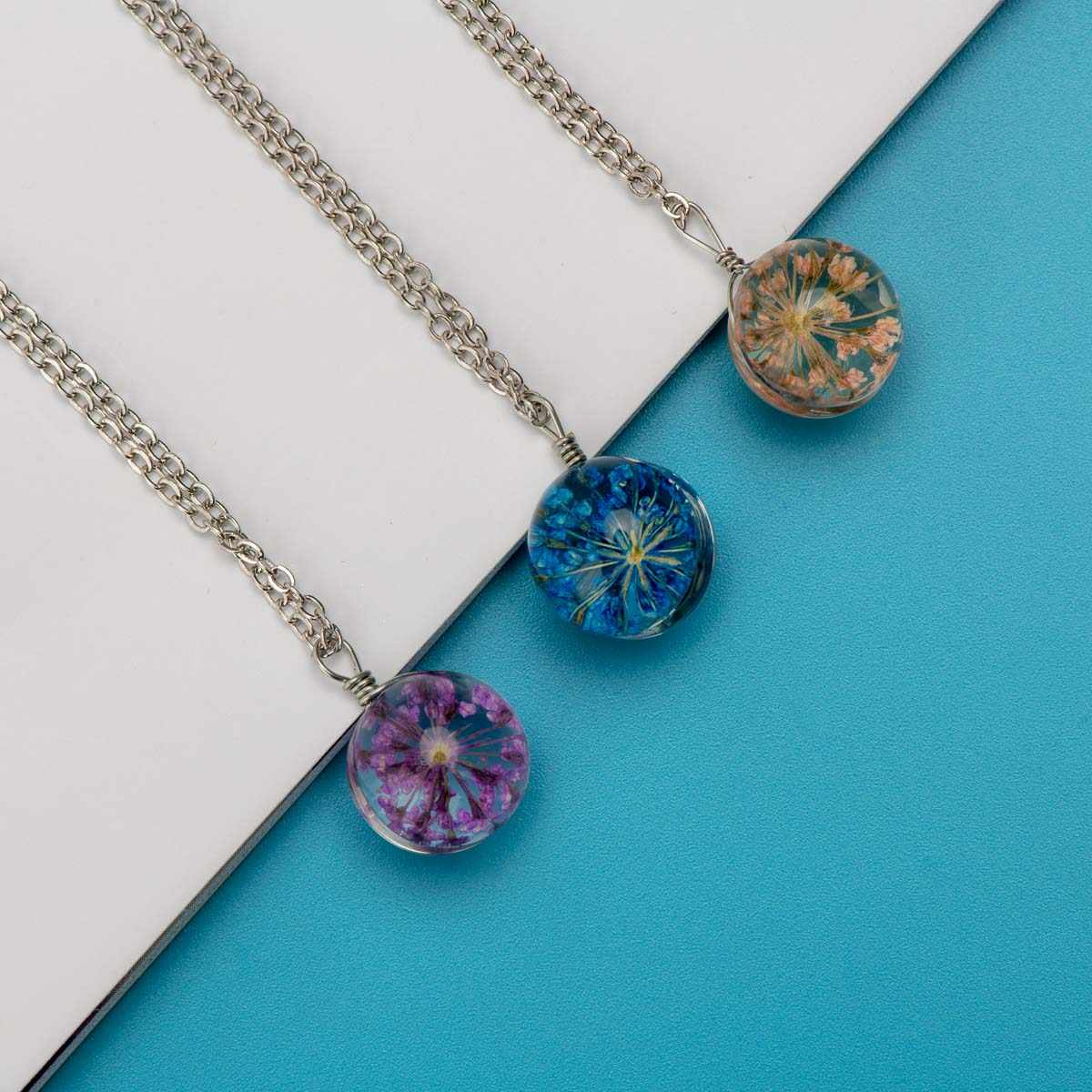 Flower Glass Chain Necklaces For Women Artware Pendants Memorial necklaces 1 PCS Free Shipping #DY307