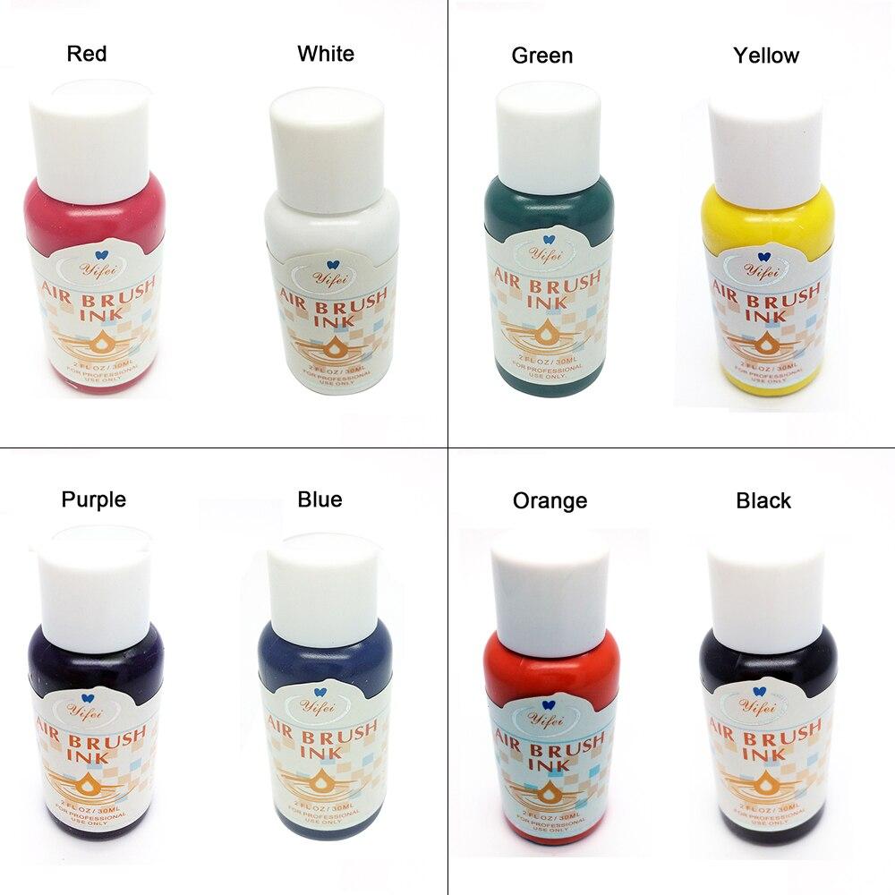 30ml Airbrush Nail Art Ink Nail Pigment Set for Hand Stencils Painting Color Spray Gun Nail Accessories 8 Colors30ml Airbrush Nail Art Ink Nail Pigment Set for Hand Stencils Painting Color Spray Gun Nail Accessories 8 Colors