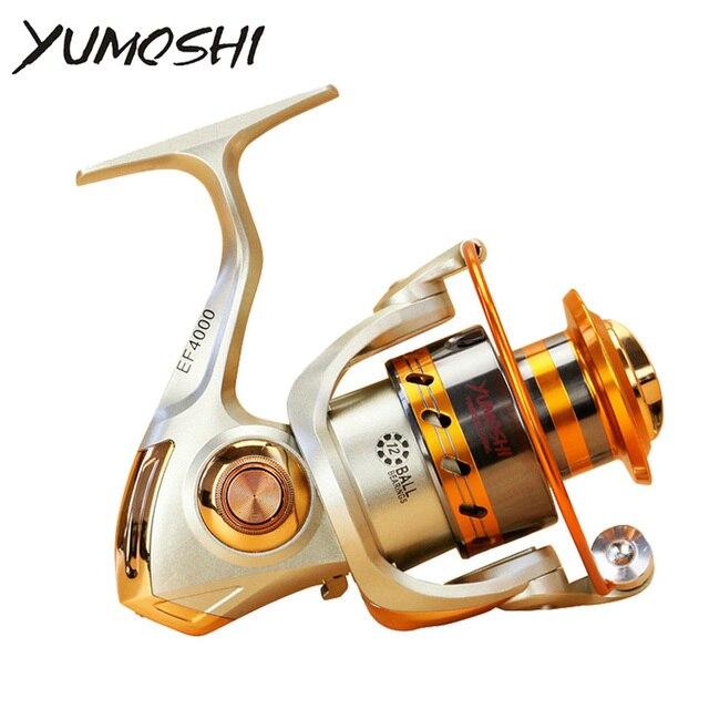 Yumoshi EF500-9000 12BB 5,2: 1 carrete de pesca giratorio de Metal para pesca de carpa de carrete de Pesca de Mar de agua dulce/salada