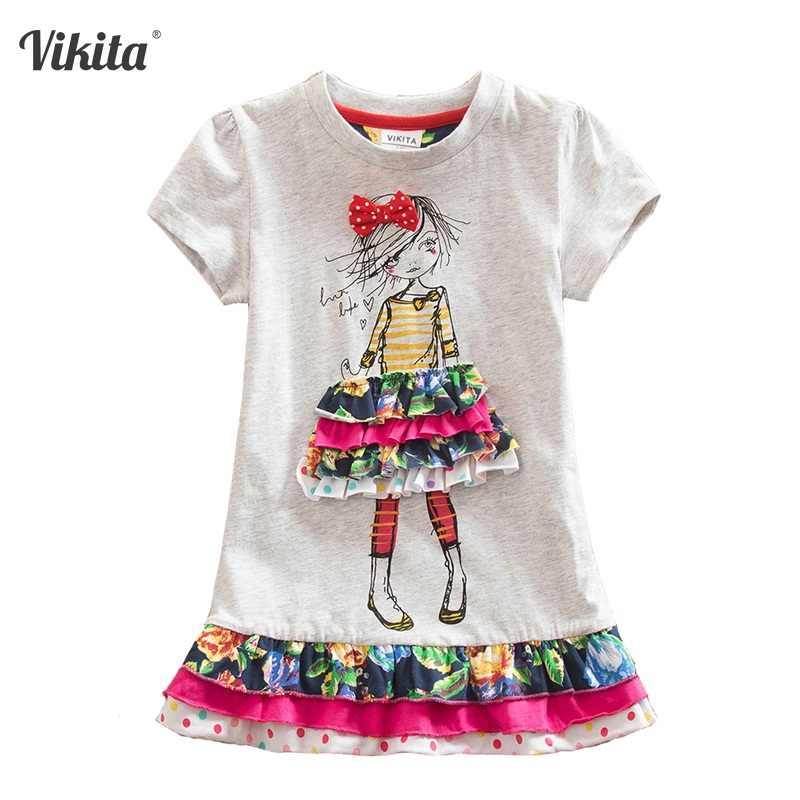 VIKITA בנות קיץ שמלת כותנה בנות קצר שרוול שמלות ילדים Cartoon Unicorn נסיכת שמלת ילדי ילדי שמלת ילדה