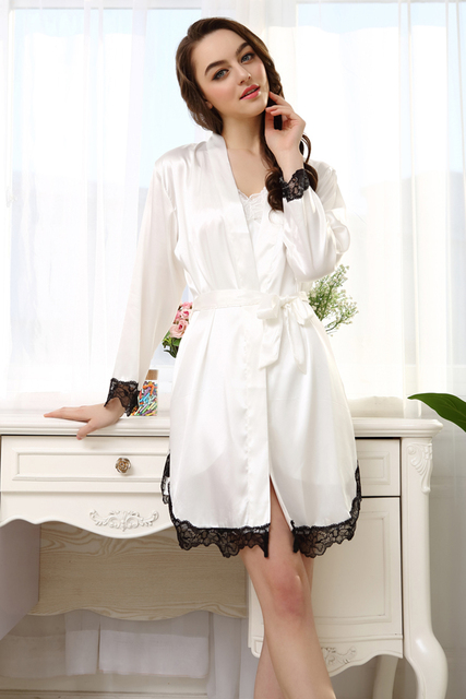Free shipping Spring Summer Autumn Sexy Women's White Pink Lace Strap Nightgown Sleepwear Female Silk Robe Twinset Lounge Set
