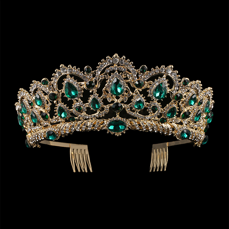European Drop Green Red Crystal Tiaras Vintage Gold Rhinestone Pageant Crowns With Comb Baroque Crown Wedding Hair Accessories