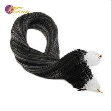 Moresoo, накладные волосы на микро-кольцах, натуральные человеческие волосы Remy на микро-петлях, черные,# 1B, выцветающие, серебристые, смешанные с черными, 50 г