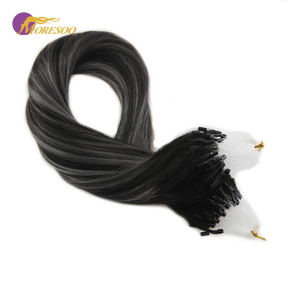 Moresoo Micro Ring Hair Extension Micro Loop Real Machine Remy Human Hair Off Black #1B Fading To Silver Mixed With Black 50G