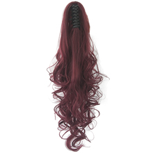 Soowee 60cm Long Red Gray Curly Clip In Hair Piece Extensions Pony Tail High Temperature Fiber Synthetic Hair Claw Ponytail