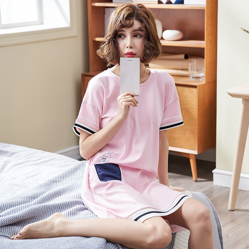Summer brand women   nightgown   cotton   sleepshirt   cute sleep clothing short sleeved sleepwear female pyjamas girls nightwear summer