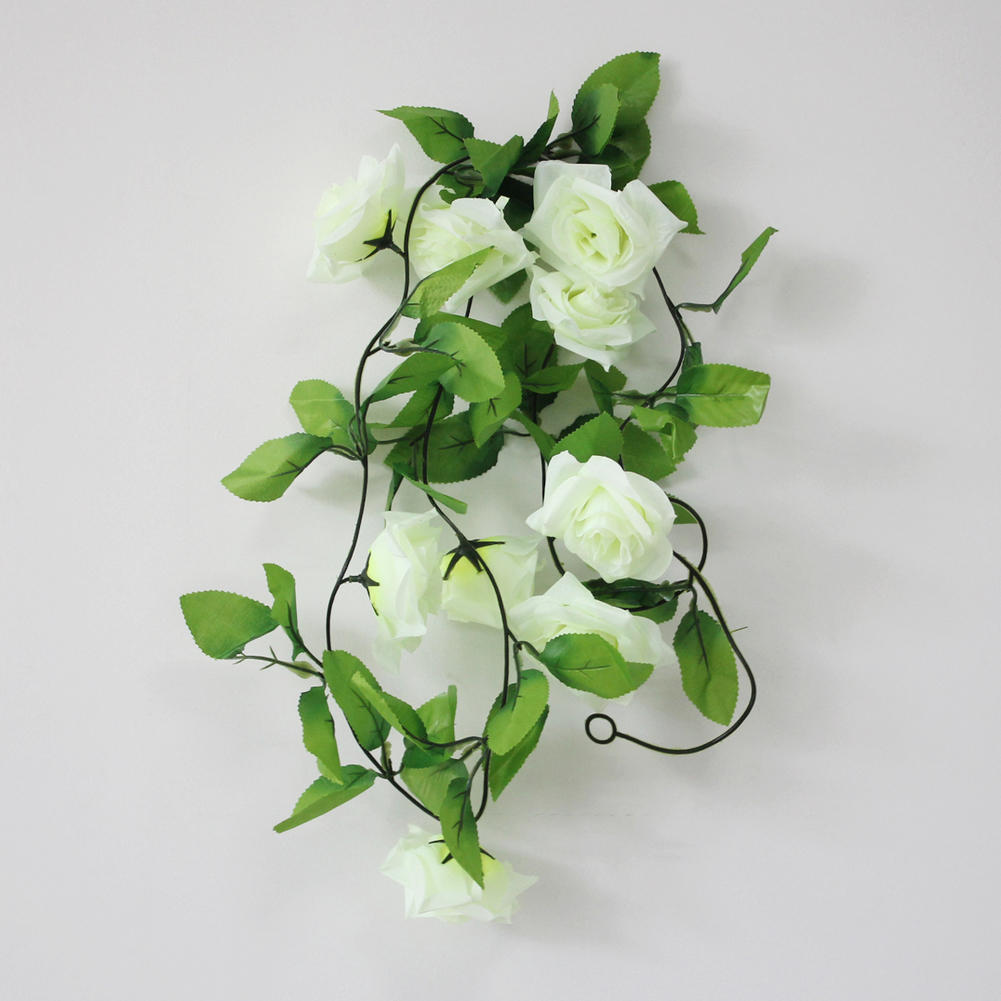 Artificial Silk Flower Ivy Leaf Plants Vine Fake Flower Rose Beige