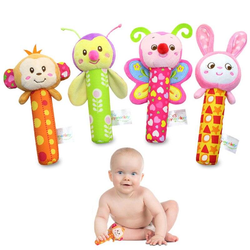 Happy Monkey Baby Plush Toy Newborn Infant Hand Rattle Mobile Bibi Stick Soft Monkey/Bee/Butterfly/Rabbit Doll Kid Toys
