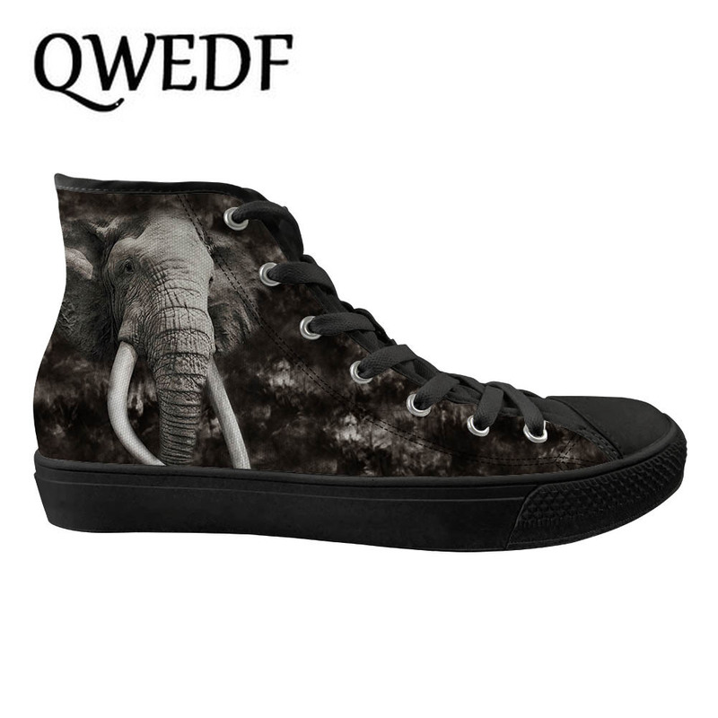 QWEDF Men's High top Canvas Shoes Breathable Casual Lace up Vulcanized Shoes Animal doodle Men High Top Sneakers X6 07