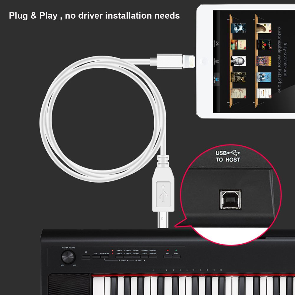 High Speed Cable For Lightning To MIDI USB OTG Type B Keyboard Adapter For iPhone X 8 7 6 iPad Electric Piano Audio Connector