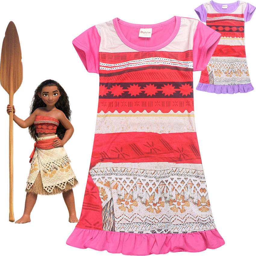 2018 D'été Moana Confortable Lâche Fit Pyjamas Filles Imprimé Princesse Robe enfants de nuit Vêtements Pour Filles de Soirée partie Robe 10Y