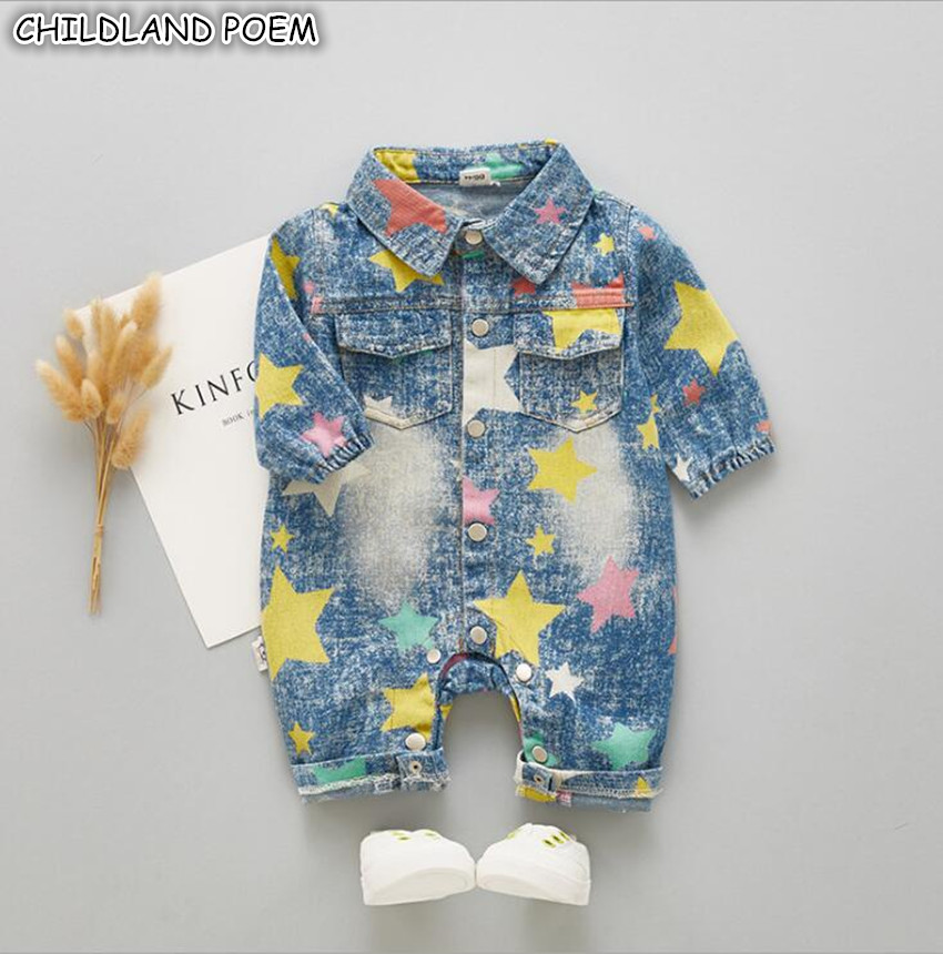Newborn Baby Clothes Autumn Denim Baby   Rompers   For Boys Jumpsuit Long Sleeve Print Baby Boy   Romper   ropa bebe Baby Costume 3-18M