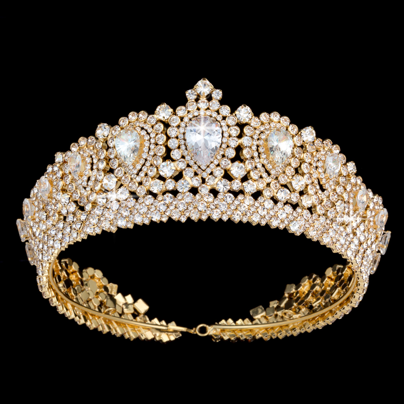 Image 2 - Hadiyana New Bling Wedding Crown Diadem Tiara With Zirconia Crystal Elegant Woman Tiaras and Crowns For Pageant Party BC3232-in Hair Jewelry from Jewelry & Accessories