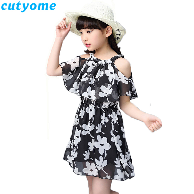 Cutyome Big Girls Shoulder Off Beach Dresses 10 13 14 16 Years Summer Kids Sleeveless Floral Printed Holidays Dress Teen Clothes