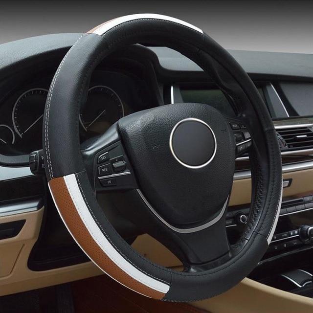 1pc full werk car styling leather steering wheel cover steering