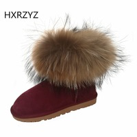 Fox Fur Snow Boots Women Winter Shoes Boots