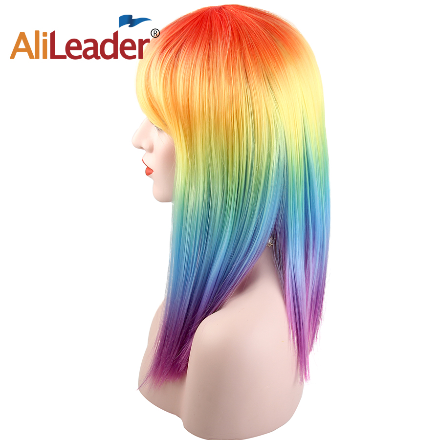 Alileader 16Inch Straight Rainbow Color Wig Women s Synthetic Hair High Temperature Fiber Cosplay Wigs For
