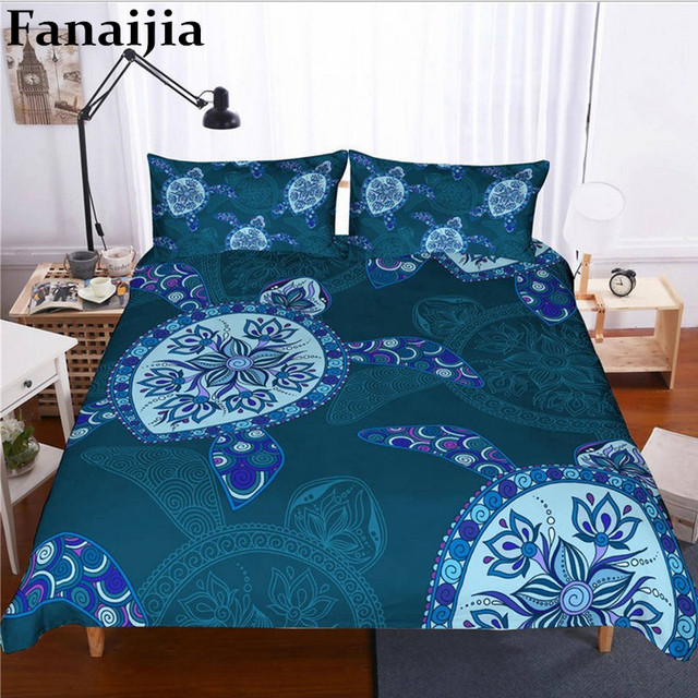 Fanaijia 3d Turtle duvet cover set Underwater World bedding set queen size Bed Set Bedclothes full size