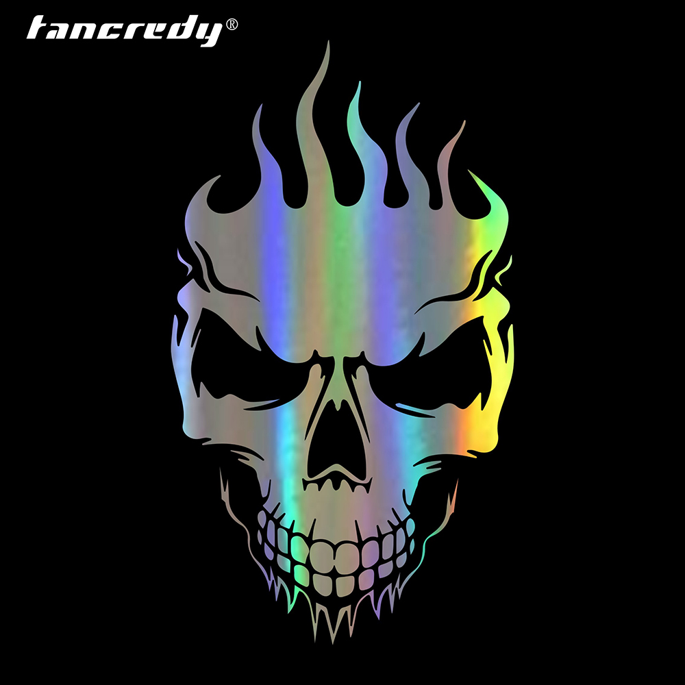 Tancredy car stickers decals flame skull sticker car bumper sticker car styling decoration car door body window vinyl stickers in car stickers from