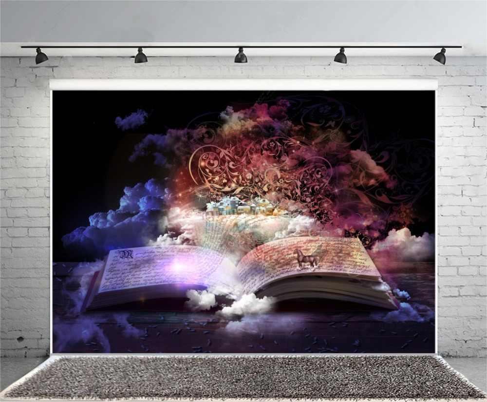 Laeacco Magical Book Wooden Board Fairytale Wallpaper Baby Child Portrait Photo Backgrounds Photographic Backdrops Photo Studio
