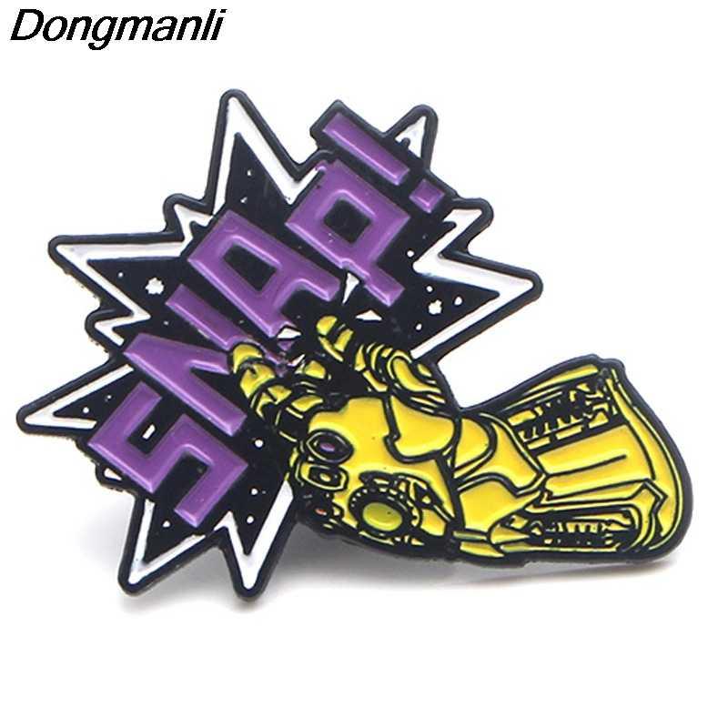 P3755 Dongmanli di Modo Divertente Infinity Gauntlet Freddo del Metallo Dello Smalto Spille s e Spille per Risvolto Spille Distintivo