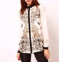 Summer Autumn Fashion Bird Printing Pattern Floral Elegant Long Sleeve Chiffon Blouse Women Shirt Tops WF