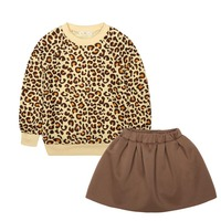 NEW Autumn Baby Girl Clothes Sets Leopard Print Child Sportswear Suit Long Sleeve + Skirts Casual Sets 4-7Y