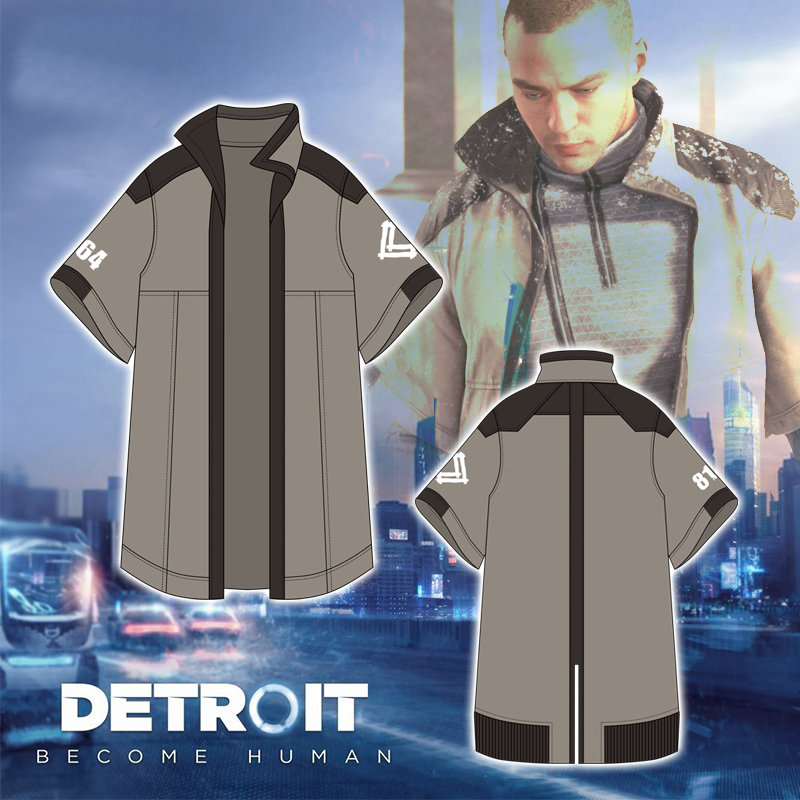 Detroit: Become Human Trench Cosplay Marcus Jacket Tops Costume Short Sleeve Halloween Costumes Daily Clothes Party Props