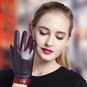 Image 4 - NEW 2020 Genuine Leather Women Gloves Female Elegant Two Tones Sheepskin Gloves Autumn Winter Warm Plush Lined 3326