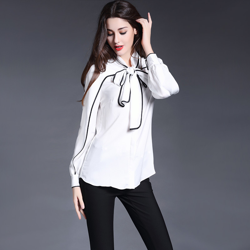 b880f1f30c68b High Quality Women Fashion Silk White Black Trimmed Bow Knot Blouse Shirt  Office Chiffon Blusas Top Clothes Chemise Femme S78-in Blouses   Shirts  from ...