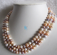FREE SHIPPING>@@> N2063 51 6 8mm Multi Color Freshwater Pearl Necklace White Peach Pink Lavender Strand